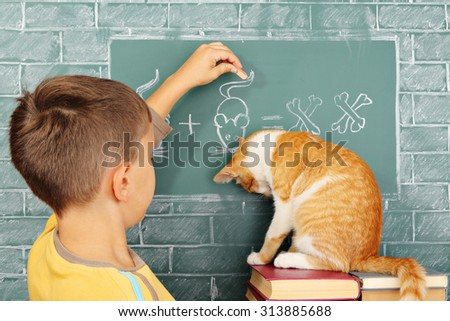 Education joke: The guilty learner the cat who incorrectly solved a problem and his teacher - stock photo
