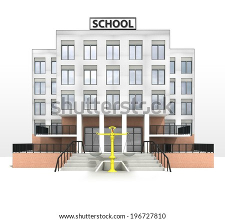 education measure in front of modern school building illustration - stock photo