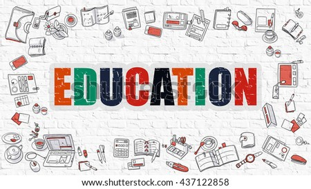 Education. Multicolor Inscription on White Brick Wall with Doodle Icons Around. Education Concept. Modern Style Illustration with Doodle Design Icons. Education on White Brickwall Background. - stock photo