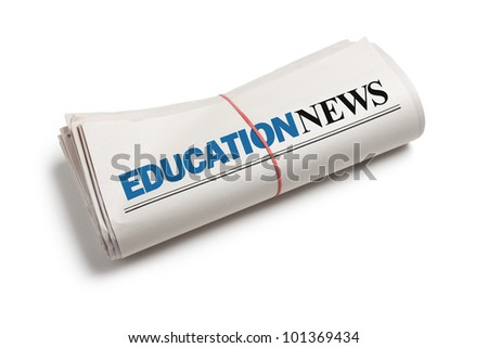 Education News, Newspaper roll with white background - stock photo