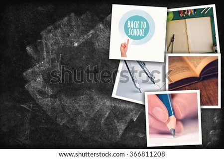 Education photo collage, school related pictures on chalkboard texture as copy space - stock photo