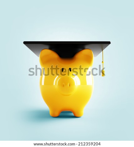 Education pig - stock photo