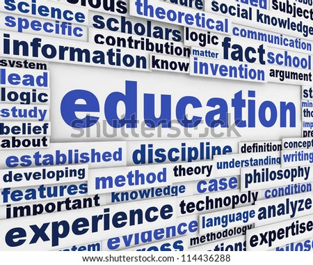 Education poster design. Knowledge development message background - stock photo