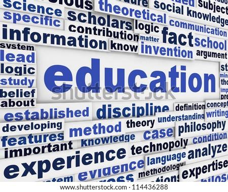 Education poster design. Knowledge development message background - stock photo