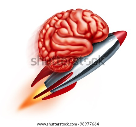 Education power with a flying rocket and a human brain on the projectile as a symbol of learning and studying and improving the function of the thinking mind on a white background.