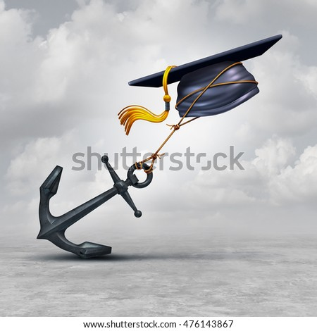 Education problem and learning challenge concept as a mortar cap or graduation hat being held back by a heavy anchor as a educational impairment or school loan burden symbol as a 3D illustration.