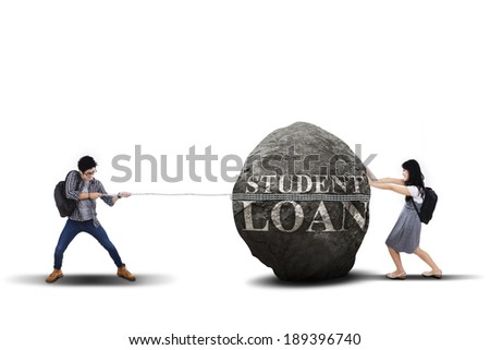 Education problem with students pulling and pushing heavy stone - stock photo