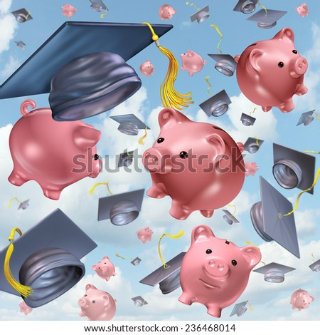 Education savings concept as a group of mortarboards or graduation hats in the air with piggy banks up in the sky as a financial icon and the costs of school tuition and private learning symbol. - stock photo