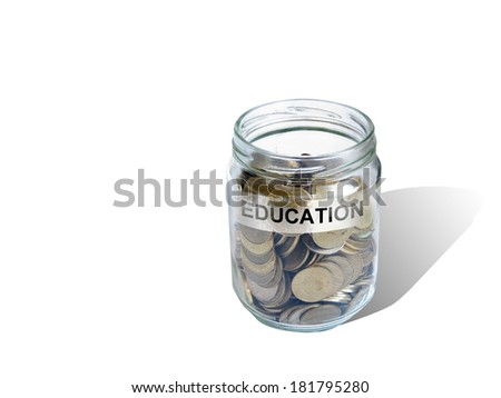 education  savings money in jar made in 2d software