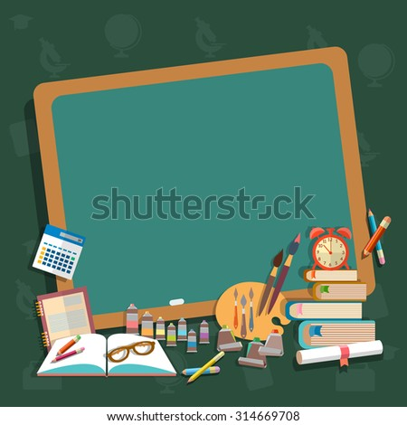 Education school board back to school textbooks notebooks pencils draw learn algebra mathematics college campus  - stock photo