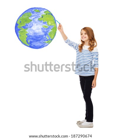 education, school, earth day and happy people concept - cute little girl drawing planet earth in the air - stock photo