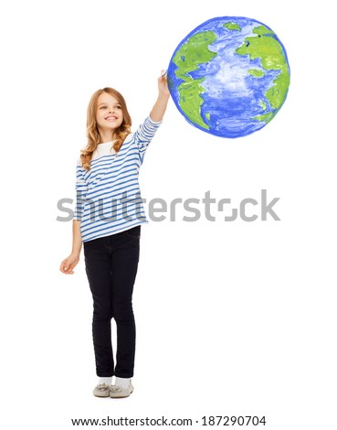 education, school, earth day and happy people concept - cute little girl drawing planet earth in the air