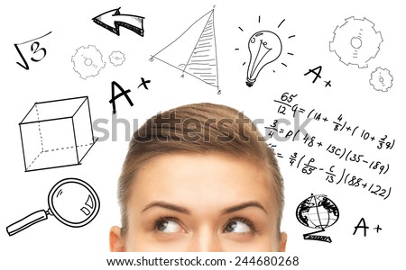 education, school, mathematics and people concept - close up of woman looking up to mathematical doodles - stock photo