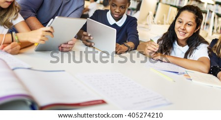 Education School Teacher Student Digital Tablet Technology Concept - stock photo