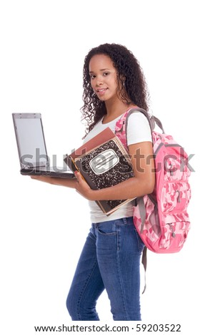 education series template - Friendly ethnic black woman high school student with portable computer