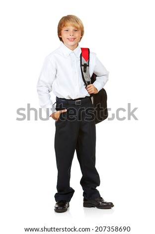 Education: Smiling Boy Student Carrying Backpack - stock photo