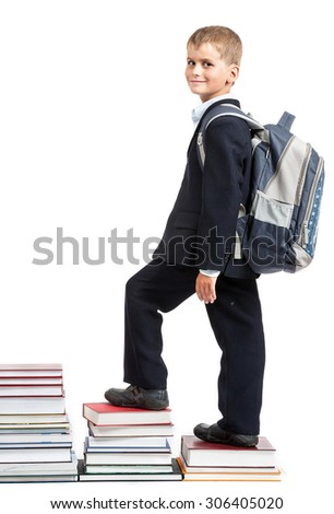 Education success graph - successful schoolboy isolated on white background. Back to school