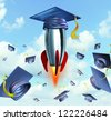 Education success with graduation hats thrown in the air as a celebration with a leading mortar board blasting off in a rocket as traditional hat toss for university and college students. - stock vector