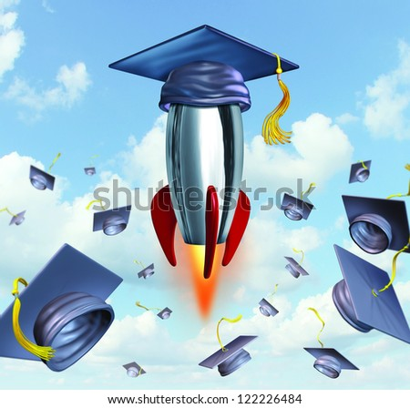 Education success with graduation hats thrown in the air as a celebration with a leading mortar board blasting off in a rocket as traditional hat toss for university and college students. - stock photo