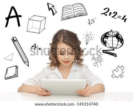 education, technology and internet concept - beautiful student girl playing with tablet pc - stock photo