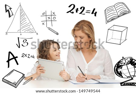 education, technology, internet and parenting concept - girl and mother doing homework with tablet pc - stock photo