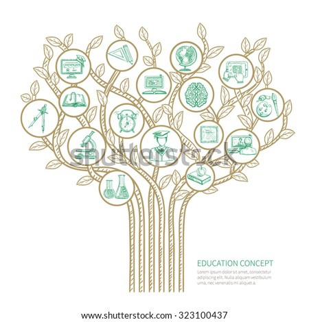 Education tree concept with learning and graduation sketch symbols  illustration