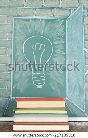 Education unusual concept. Steps to knowledge. Drawing on a blackboard - stock photo