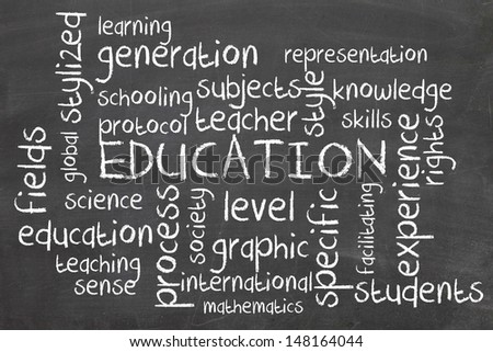 education word cloud on blackboard