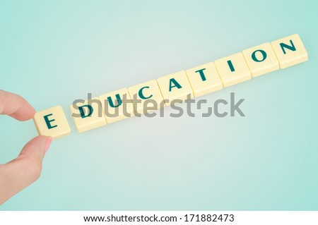 Education word on blue background