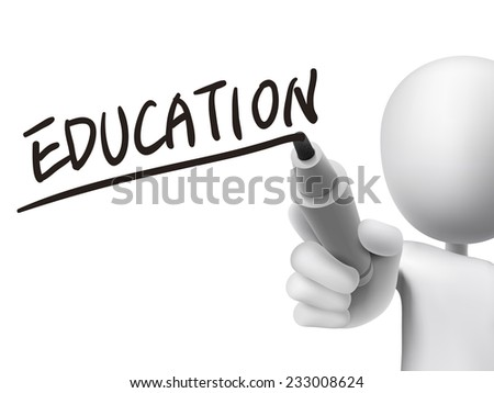 education word written by 3d man over transparent board - stock photo