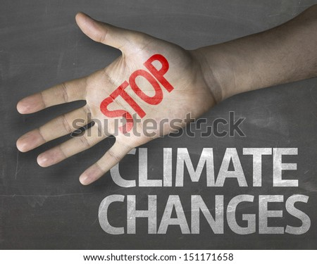 Educational and Creative composition with the message Stop Climate Changes on the blackboard  - stock photo