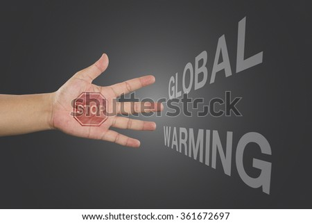 Educational and Creative composition with the message Stop Global Warming on the blackboard