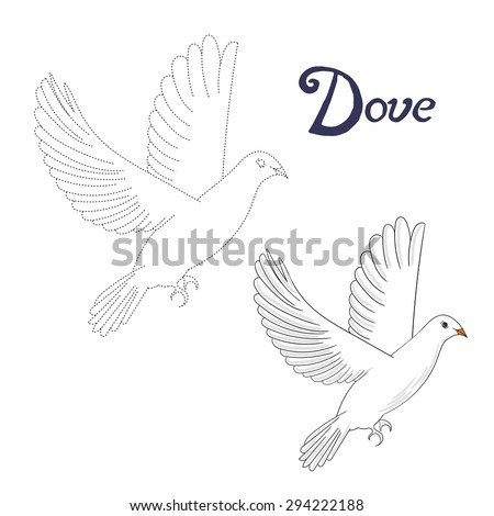 Educational game connect the dots to draw dove bird raster version