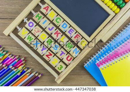 Educational materials, calculations (abacus), drawing and note pad./ Educational materials