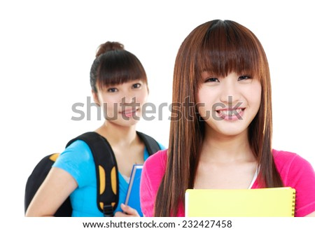 Educational theme: Close up asian female friends - stock photo