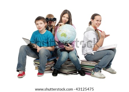 Educational theme: group of emotional teenagers sitting together. - stock photo