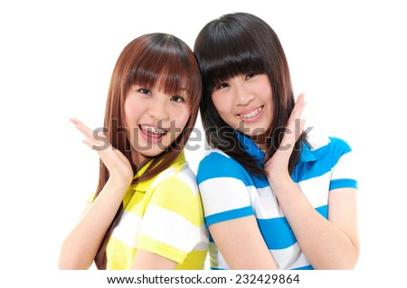 Educational theme: smiling friends - stock photo