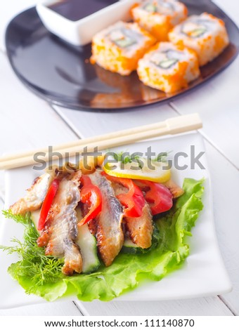 eel fish meat on a plate
