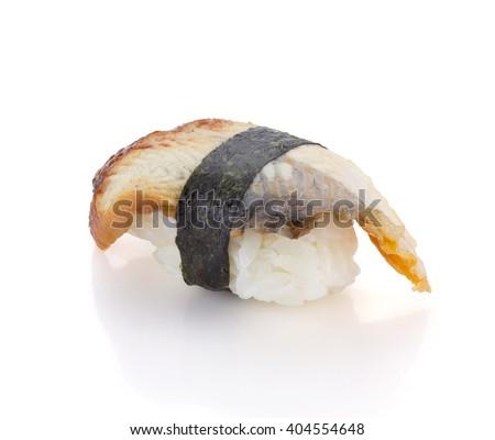Eel sushi nigiri isolated on white background - stock photo