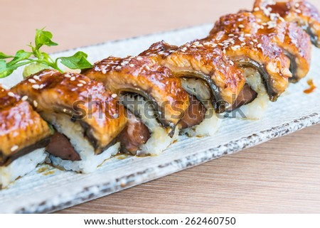 eel sushi roll japanese food style - selective focus point