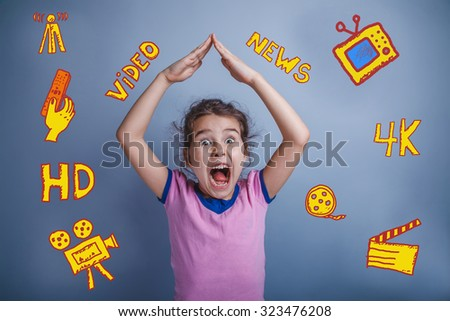 een girl shows gesture of video news on the background shouts emotions infographics TV channels icon sketch in the background - stock photo