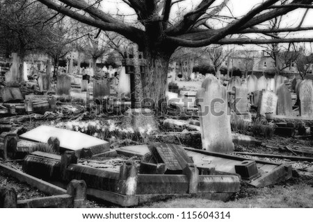 Eerie Graveyard - stock photo