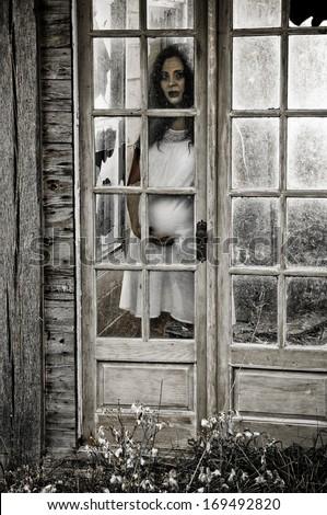 Eerie Scene Pregnant Woman Looking Through Stock Photo Edit Now