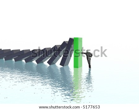 effect domino (green-black illustrations set, high resolution 3d images)