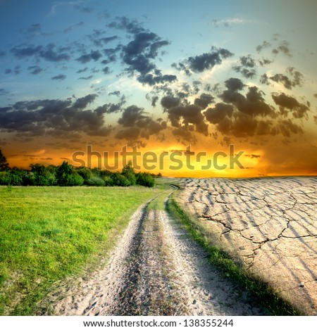 Effect of global warming on a nature - stock photo