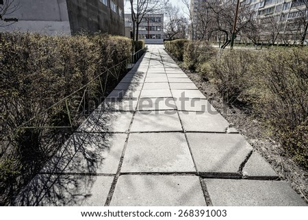 Effect photo of an old concrete pathway