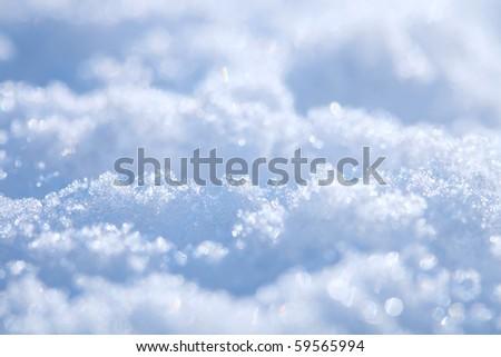 effective blue snow background, very tiny focus - stock photo
