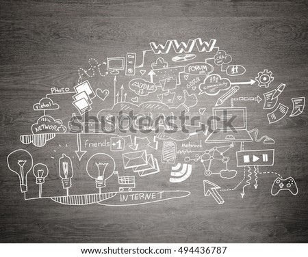 Effective business planning concept on gray wooden background