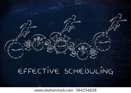 effective scheduling: people running on clocks, stopwatches, alarms & gearwheels - stock photo
