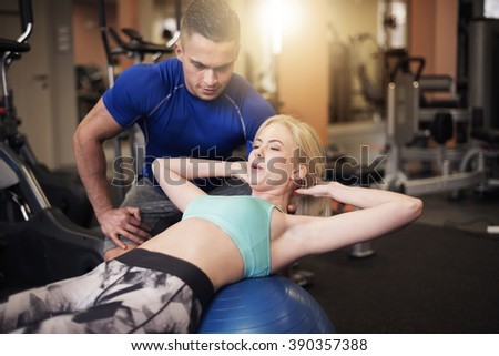 Effective sit ups on fitness ball - stock photo